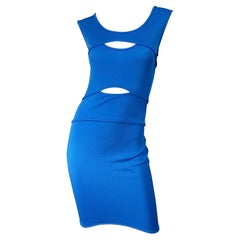 Thierry Mugler 1980s Blue Cut Out Vintage Body Con 80s Dress Size 44