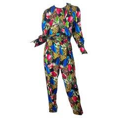 1980s Diane Freis Silk Jewel Floral Print Bright Color Vintage 80s Jumpsuit