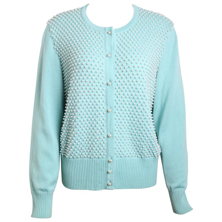Escada Mint Green Pearl Cardigan Sweater