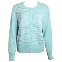 Escada Mint Green Pearl Cardigan Sweater