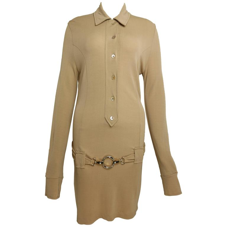 Paco Rabanne Beige Belted Jumper Dress For Sale