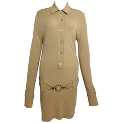 Paco Rabanne Beige Belted Jumper Dress