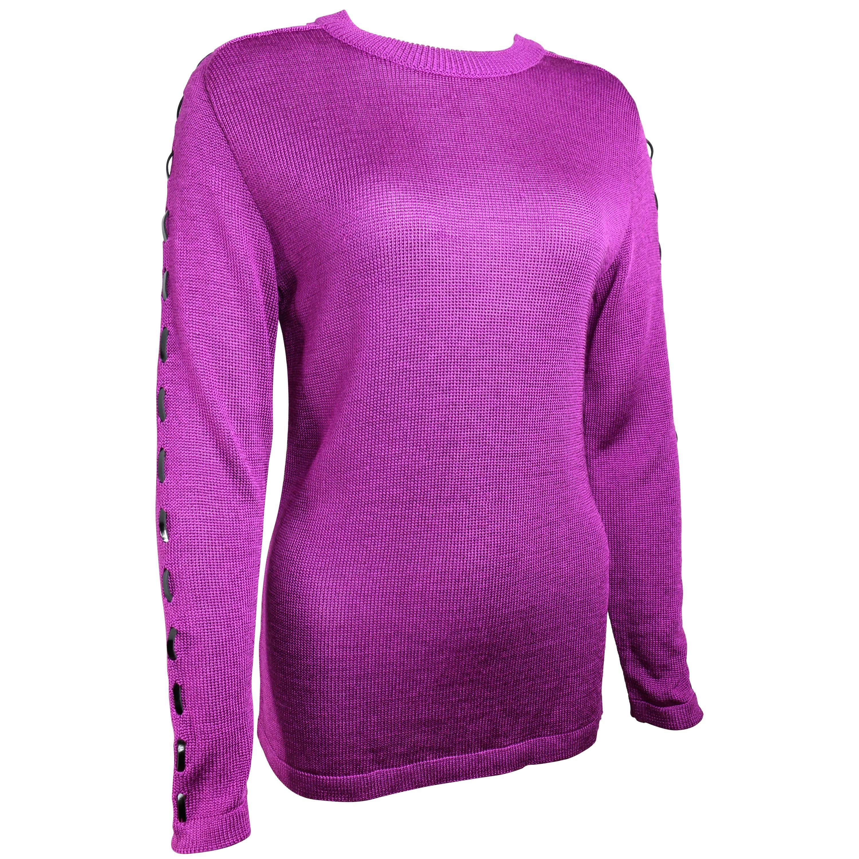 90s Claude Montana Purple Wool Patent Leather Trim Sweater