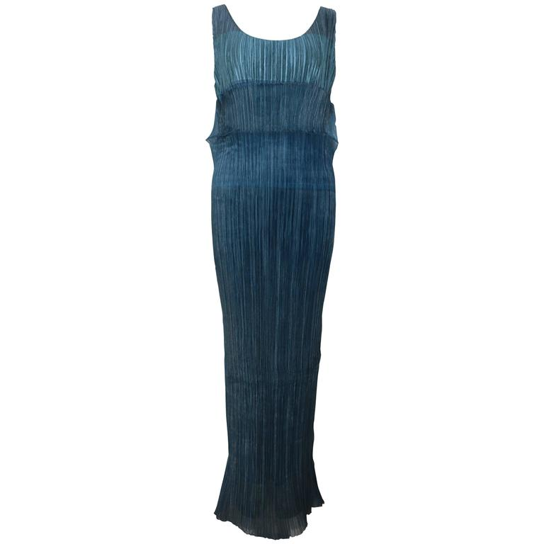 Issey Miyake Blue Pleated Maxi Dress