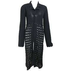 Dolce & Gabbana Black Wool Knitted Long Coat