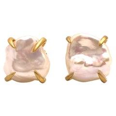 Lustrous Pair of White Baroque Pearl Vermeil Stud Earrings