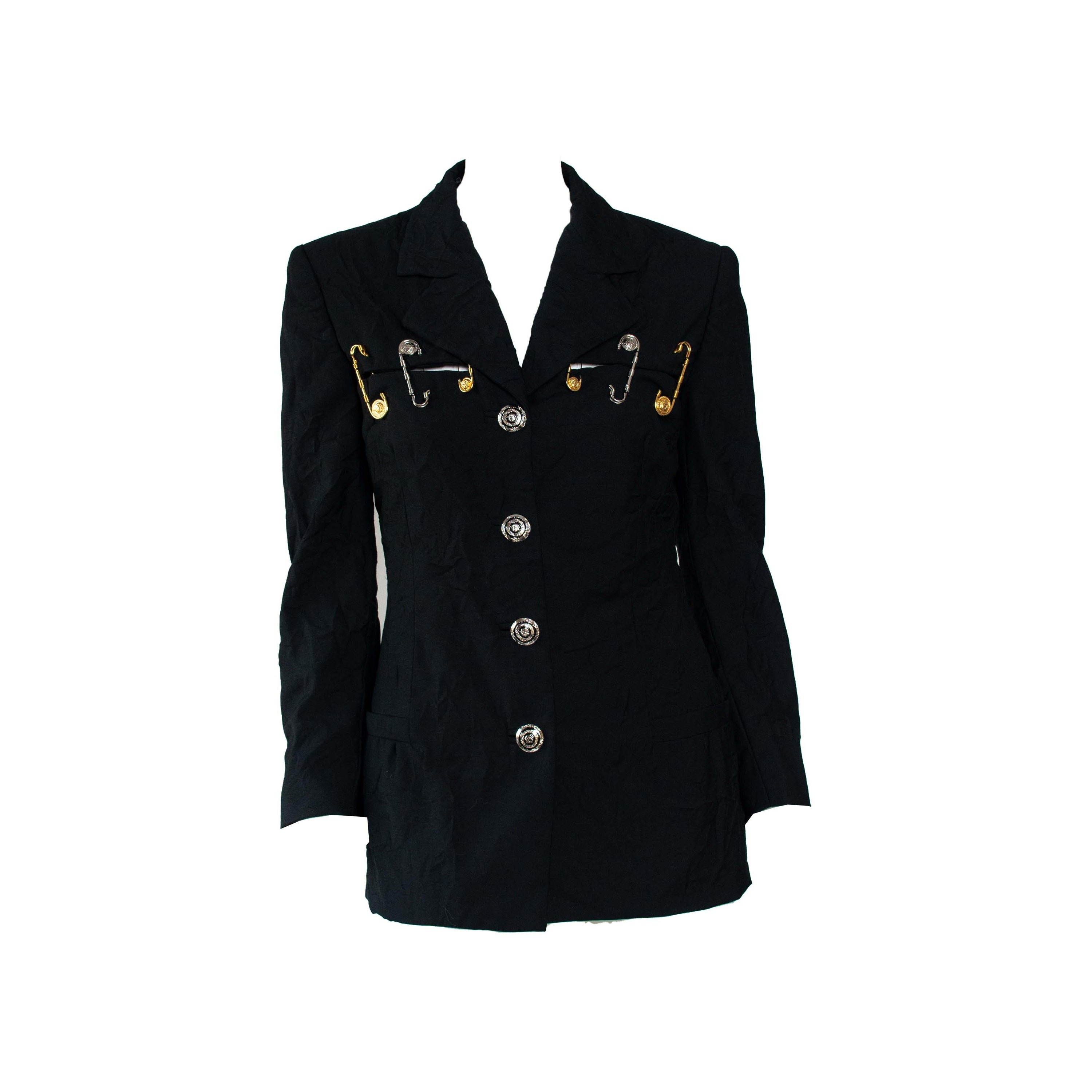 S/S 1994 Gianni Versace Couture Medusa Safety Pin Blazer Runway