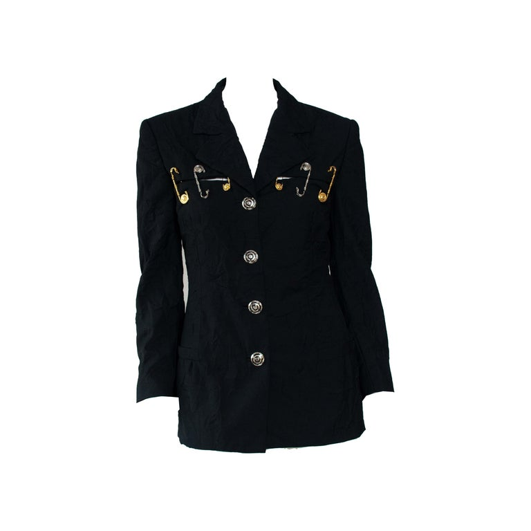 S/S 1994 Gianni Versace Couture Medusa Safety Pin Blazer Runway  For Sale