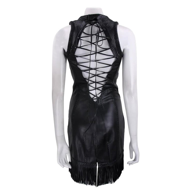 2002 Vintage Gianni Versace Black Leather Dress For Sale