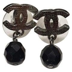 Chanel Chanel CC Black Crystal Drop Silver Tone Earrings