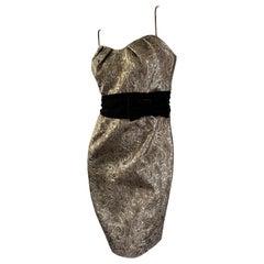 Victor Costa 80's Bronze Brocade Cocktail Dress