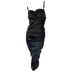 D&G by Dolce & Gabbana Vintage Black Ruched Cocktail Dress with Underwire Bra