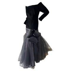 Murray Arbeid London Vintage 1980's Black Velvet Mermaid Gown