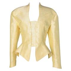 Pale yellow jacket in wild silk  Thierry Mugler