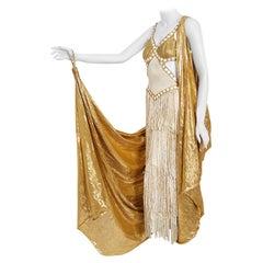 Vintage 1930's Metallic Gold Lamé Cut-Out Chenille Fringe Stage Costume Gown
