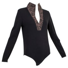 Wolford Black Queen Anne Neck Bodysuit with Paisley Jacquard Placket – L, 2000s