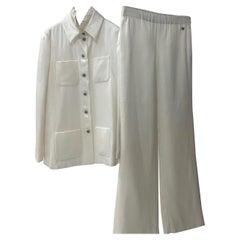 Chanel Ivory Silk Gripoix Blouse Pants Suit