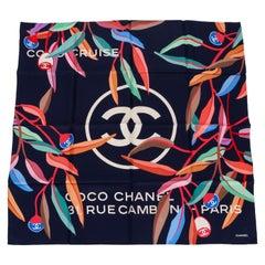 New Chanel Navy Blue Multicolor Scarf