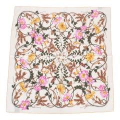 Gucci White Flowers Silk Scarf