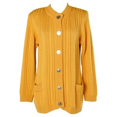Mustard knit cardigan with gold metal buttons Yves Saint Laurent Rive Gauche
