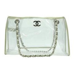 WOMENS DESIGNER Chanel Transparent Clear CC Tote Bag Gold