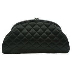 WOMENS DESIGNER Chanel Timeless Clutch Black Satin