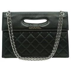 WOMENS DESIGNER CHANEL BLACK Timeless Foldover Shoulder Bag