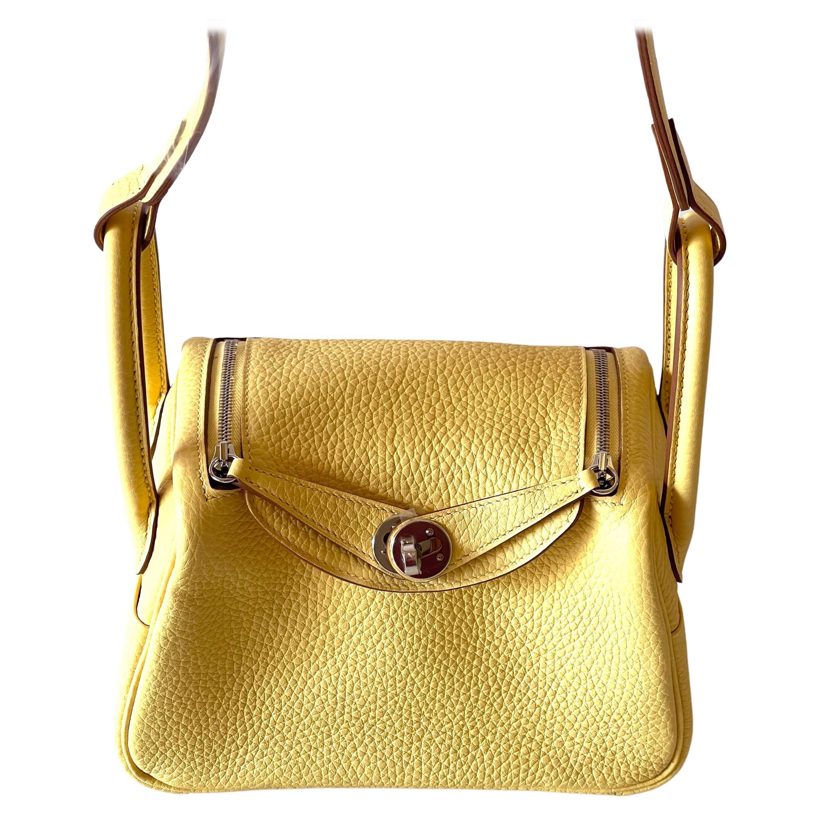 Hermes Mini Lindy Juane Poussin Buttery Yellow Handbag Bag