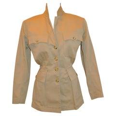 "Rare Alaia Tan Brush Cotton ""Safari"" Jacket"