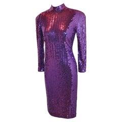 Oleg Cassini Deep-Violet Body-Hugging Sequined Dress