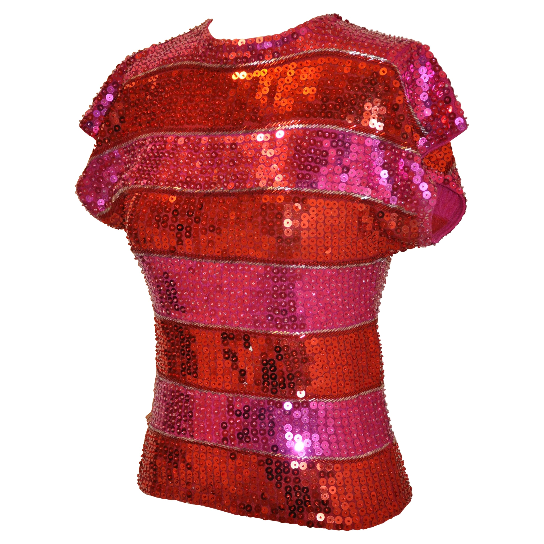 Cathy Hardwick Eye-Popping Fuchsia & Red Sequin Sweater