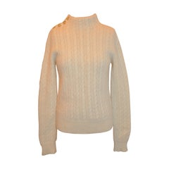 Marc Jacobs Cream Baby Alpaca Turtle-Neck Cable-Knit Sweater