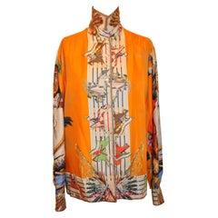 "Hermes ""Limited Edition"" ""Native American Tribal"" Silk Jacquard Shirt"