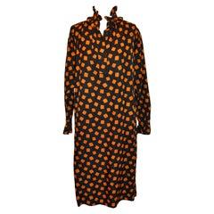 Yves Saint Laurent Ruffled Black w/Warm Brown Silk Dress