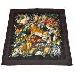 """Hermes """"Limited Edition"""" """"Collection of Fowls & Hare"""" Silk Jacquard  Scarf"""