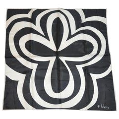 """Vera Midnight Black and Ivory """"Lucky Clover"""" with White Borders Scarf"""