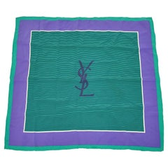 Yves Saint Laurent Deep Lavender & Green Border Silk Scarf