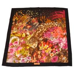 "Ferragamo Magnificent ""Baby Leopard Among Florals"" Silk Jacquard Scarf"