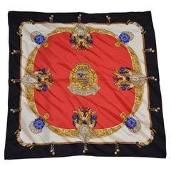 """Deep Navy Borders """"Royal Emblem"""" Silk Scarf"""