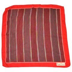 "Pierre Cardin Red Borders ""Array of Stripes"" Silk Scarf"