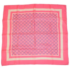 Whimsical Neon Pink with Specks of Baby Blue & White Silk Scarf