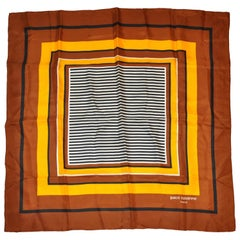 Paco Rabanne Rich Shades of Browns and Yellow Striped Center Silk Scarf