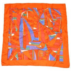 """Bold Multicolor Abstract """"Sail Boats"""" Silk Scarf"""