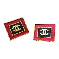 1990s Chanel Jumbo Black Red Leather Gold Toned Square Frame CC Earrings