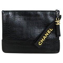 Chanel Black Crocodile Embossed Gabrielle O-Case Wristlet Pouch/ Clutch Bag