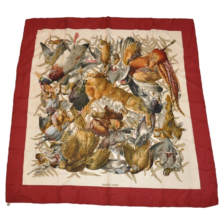 """Hermes """"Limited Edition"""" """"Multi Fowls"""" Silk Jacquard Scarf  For Sale"""
