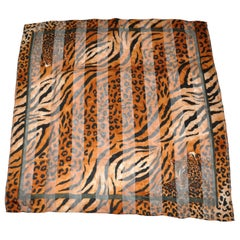 Layback Leopard Within Leopard Print Silk & Chiffon Scarf