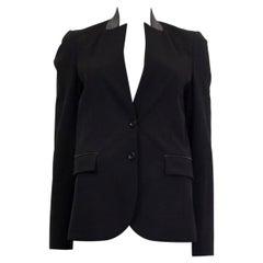 GUCCI black wool LEATHER COLLAR Blazer Jacket 42 M
