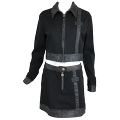 Versace Jeans Couture Black Vinyl & Stretch Fabric Jacket & Skirt 1990s