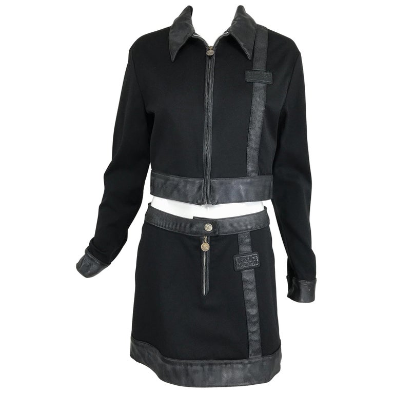 Versace Jeans Couture Black Vinyl & Stretch Fabric Jacket & Skirt 1990s For Sale